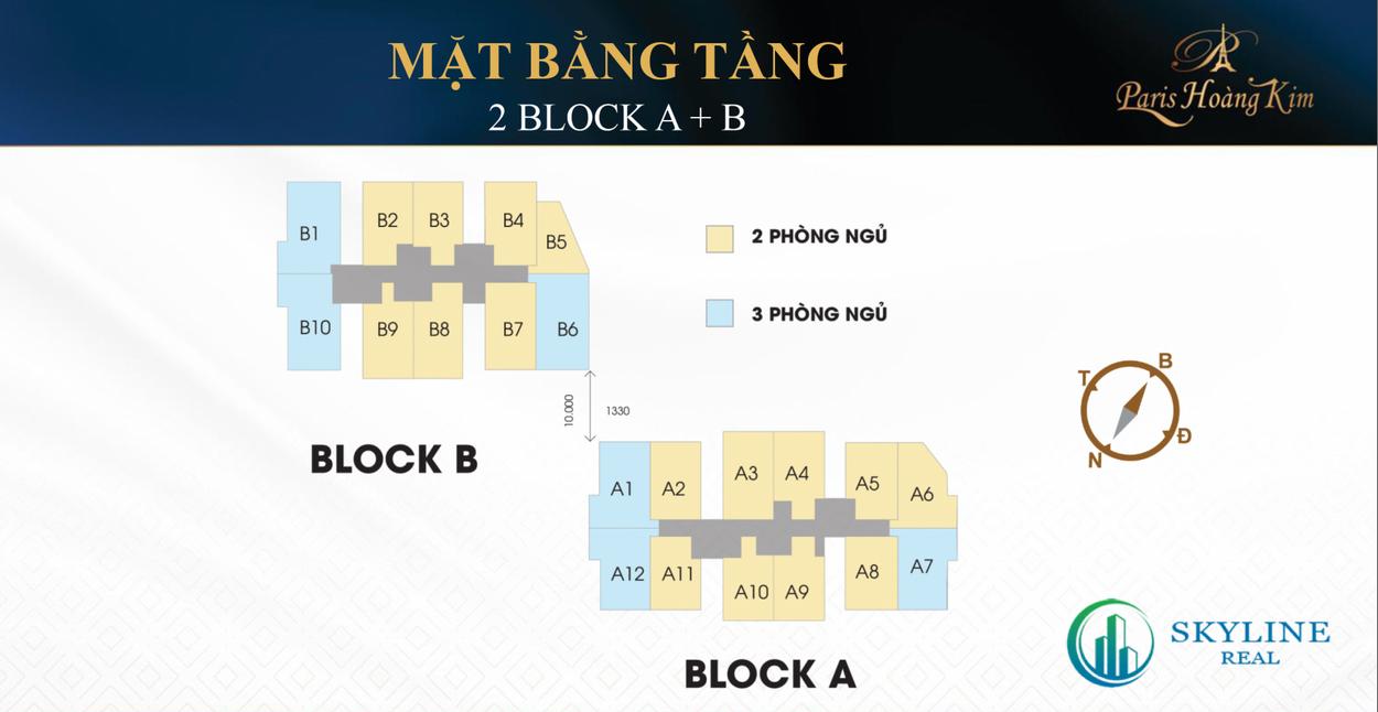 Mặt bằng tầng 2 block A + B