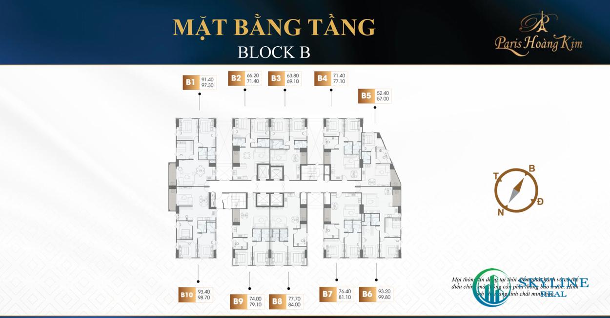 Mặt bằng tầng chi tiết block B