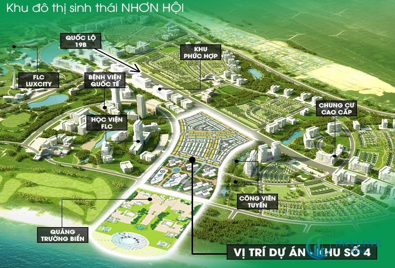 Vị trí của phân khu Takashi Ocean Suite trong khu đô thị sinh thái Nhơn Hội