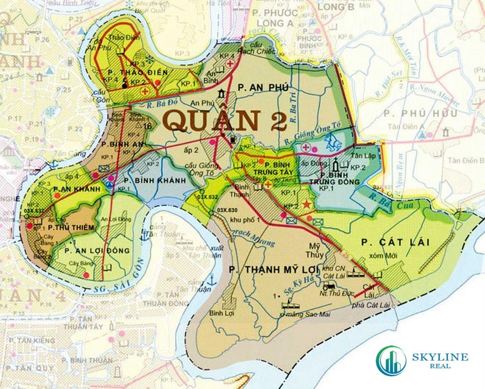 Bản đồ Quận 2 chi tiết nhất [Quy hoạch mới nhất 6/2021]