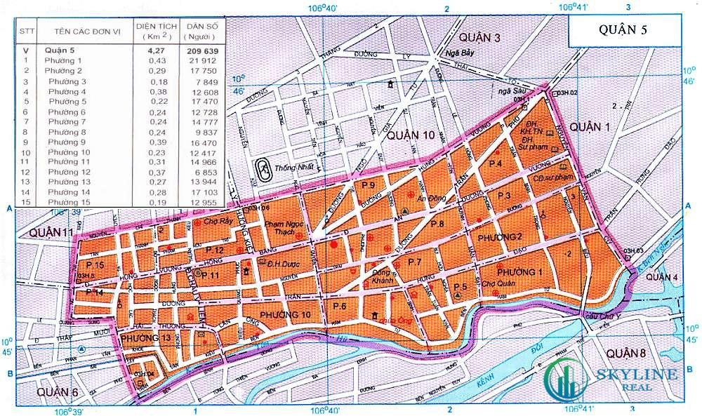 Bản đồ hành chính các phường của Quận 5