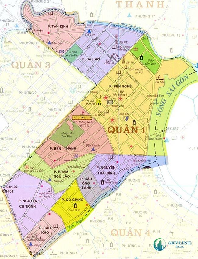 Quận 1 trên bản đồ địa lý