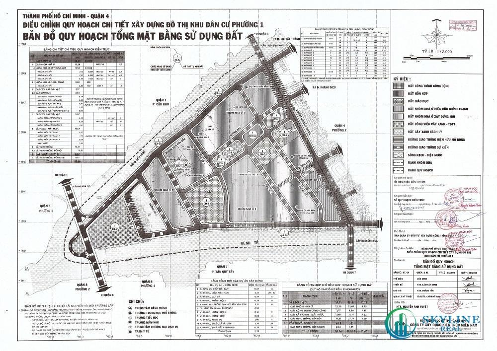 Bản đồ quy hoạch 1/2000 Khu dân cư Phường 1, Quận 4