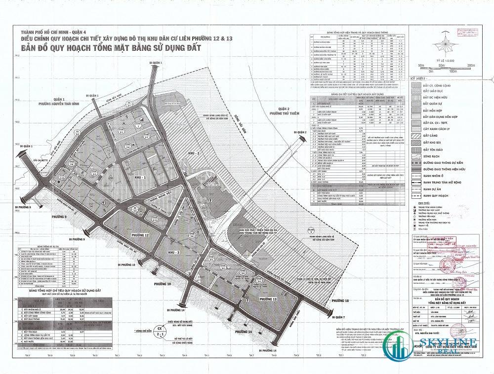 Bản đồ quy hoạch 1/2000 Khu dân cư phường 12 và 13, Quận 4