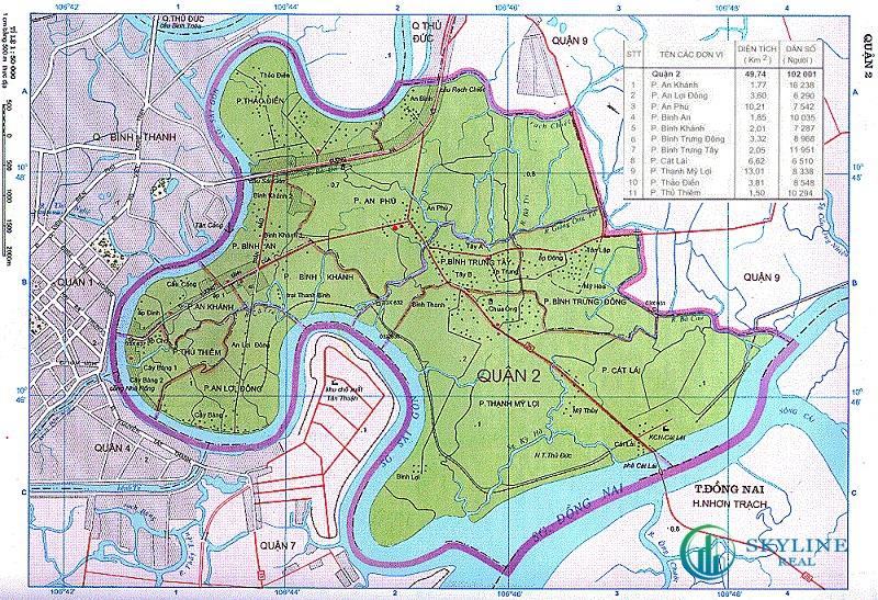 Vị trí Quận 2 trên bản đồ TP.HCM