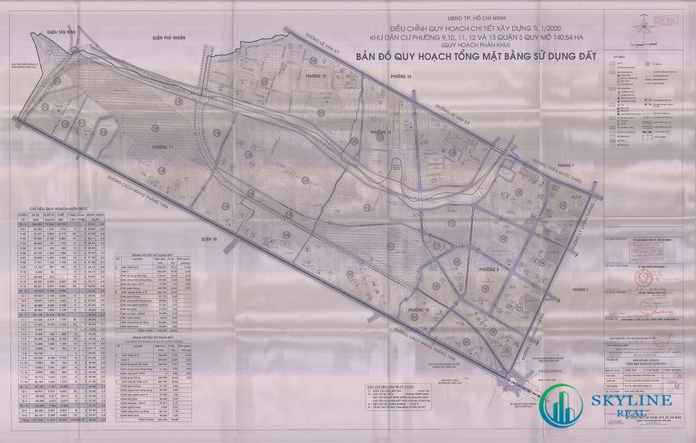 Bản đồ quy hoạch 1/2000 Khu dân cư liên phường 9, 10, 11, 12, 13, Quận 3