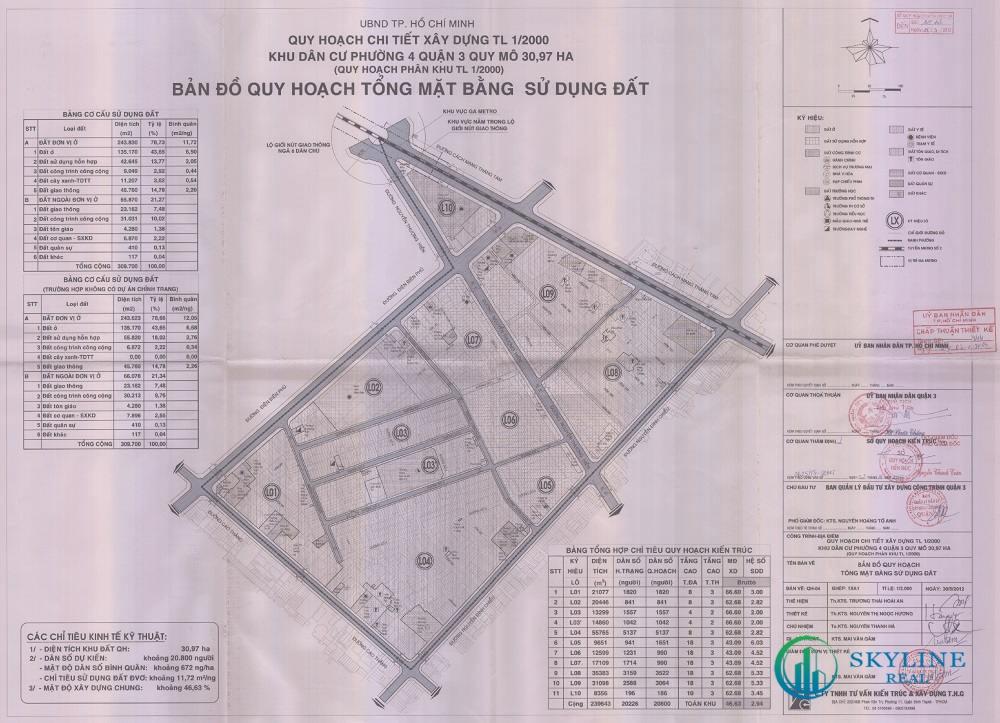 Bản đồ quy hoạch 1/2000 Khu dân cư Phường 4, Quận 3