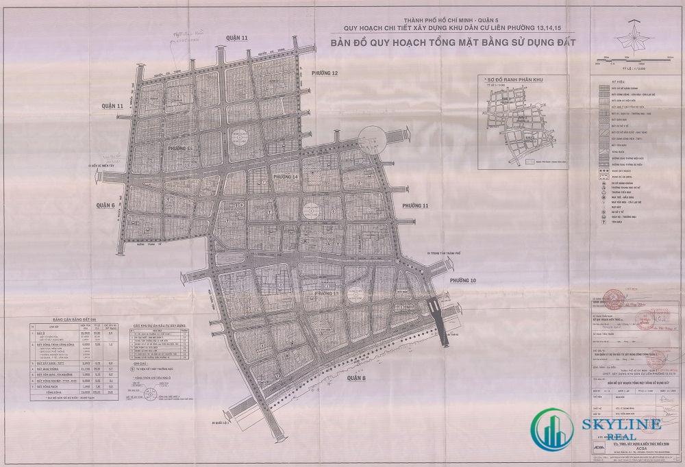 Bản đồ quy hoạch 1/2000 Khu dân cư liên phường 13, 14, 15, Quận 5