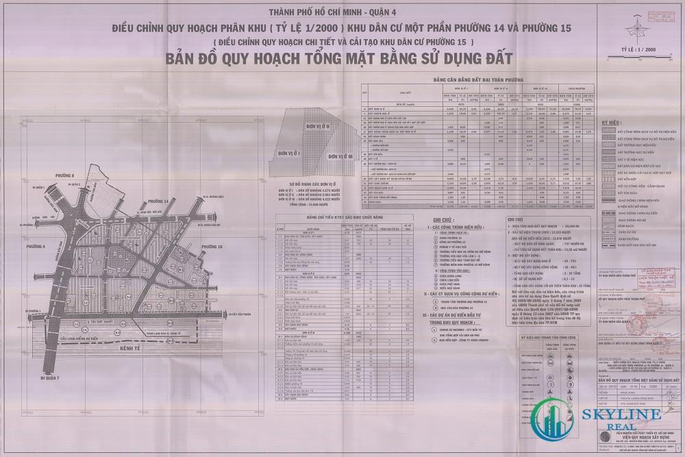 Bản đồ quy hoạch 1/2000 Khu dân cư phường 15, Quận 4