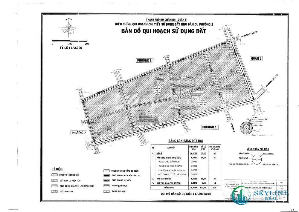 Bản đồ quy hoạch 1/2000 Khu dân cư Phường 2, Quận 5