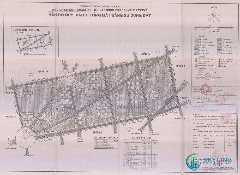 Bản đồ quy hoạch 1/2000 Khu dân cư Phường 9, Quận 5