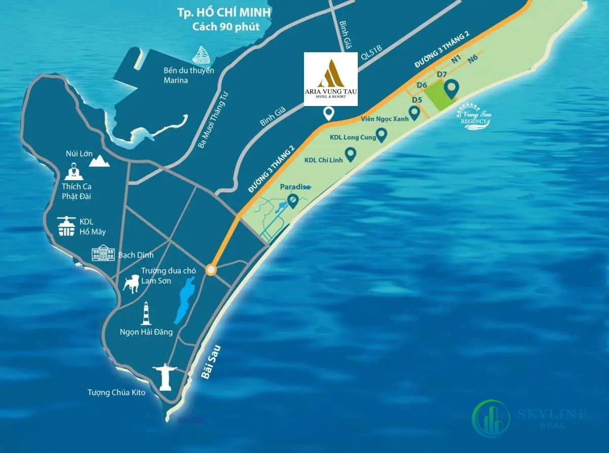 Vị trí chính xác dự án Aria Vũng Tàu