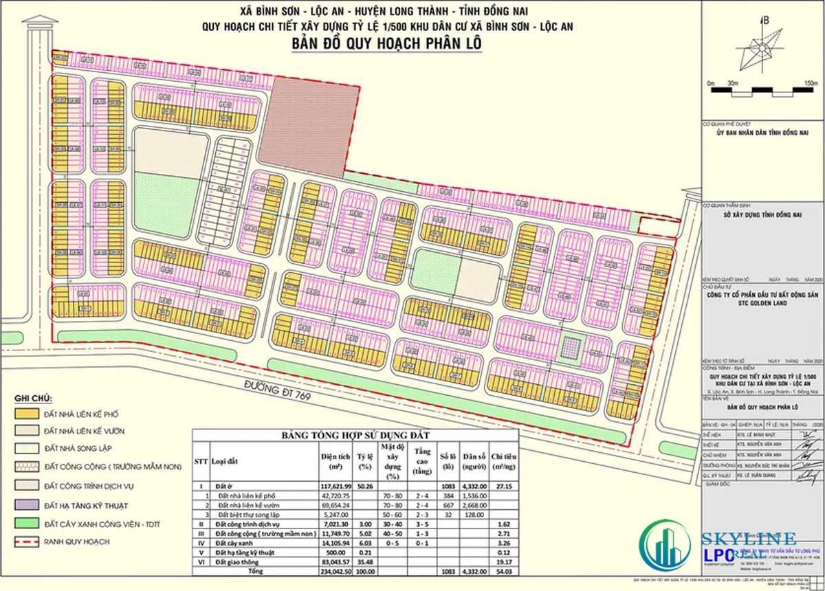Mặt bằng phân lô dự án khu dân cư Long Thành