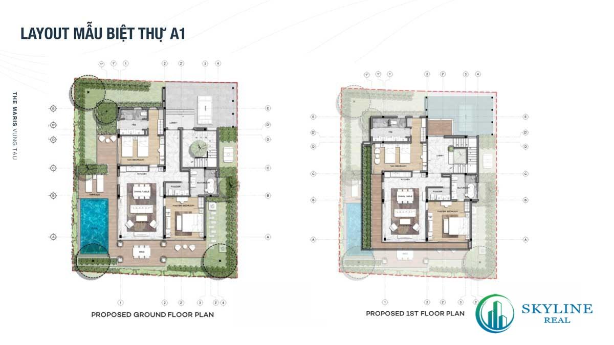 Thiết kế mẫu biệt thự A1 tại The Maris Vũng Tàu