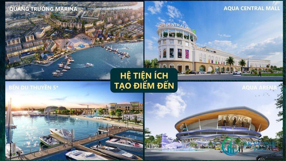 Những tiện ích tạo điểm đến tại Aqua City nổi bật như quảng trường Aqua Marina, bến du thuyền, Aqua Central Mall và Aqua Arena.