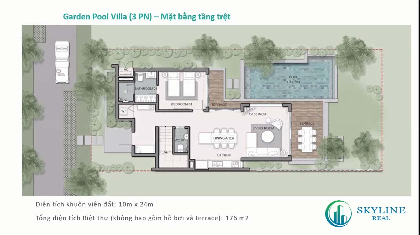 Layout biệt thự Maia Quy Nhơn Garden pool villa 3 phòng ngủ